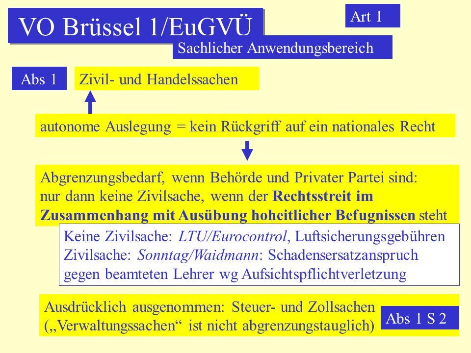VO Brüssel 1/EuGVÜ Sachlicher Anwendungsbereich Art 1 Abs 1 Zivil- und Handelssachen autonome Auslegung = kein Rückgriff auf ein nationales Recht Abgr