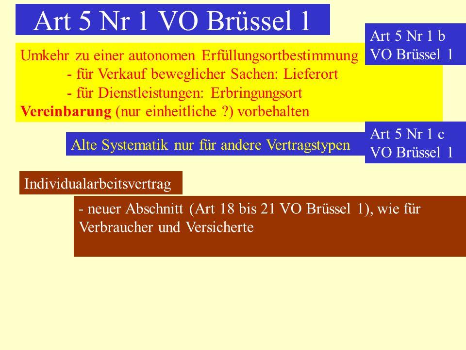 Art 5 Nr 1 VO Brüssel 1 Umkehr zu einer autonomen Erfüllungsortbestimmung - für Verkauf beweglicher Sachen: Lieferort - für Dienstleistungen: Erbringu
