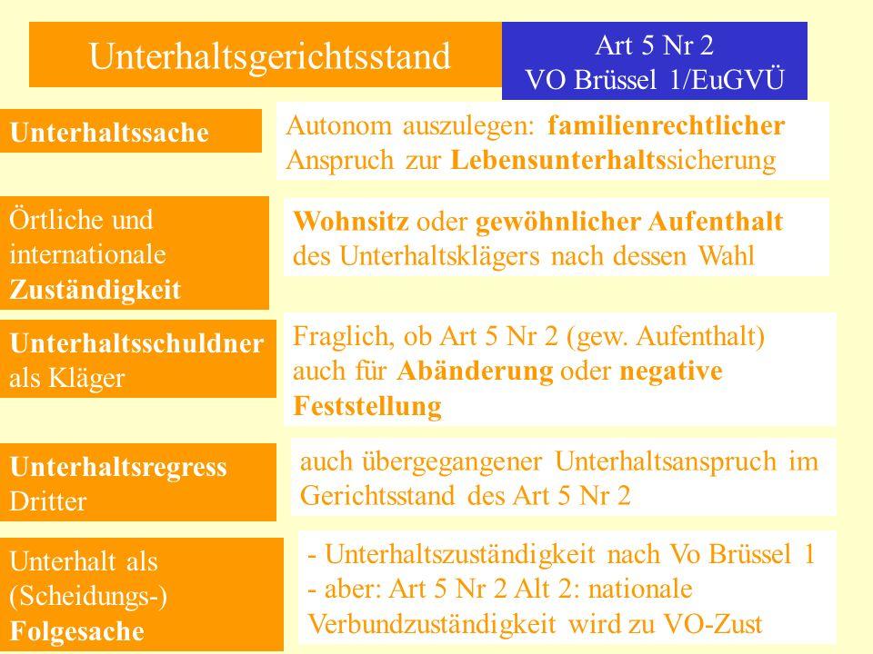 Unterhaltsgerichtsstand Art 5 Nr 2 VO Brüssel 1/EuGVÜ Unterhaltssache Autonom auszulegen: familienrechtlicher Anspruch zur Lebensunterhaltssicherung Ö