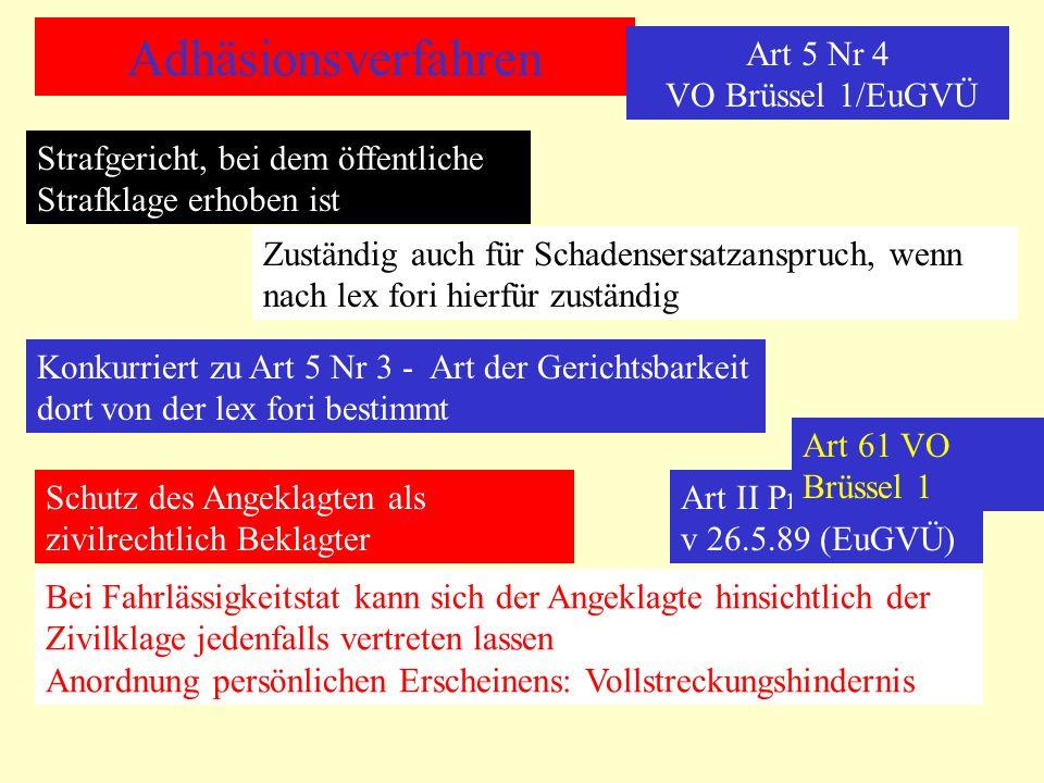 Adhäsionsverfahren Art 5 Nr 4 VO Brüssel 1/EuGVÜ Strafgericht, bei dem öffentliche Strafklage erhoben ist Zuständig auch für Schadensersatzanspruch, w