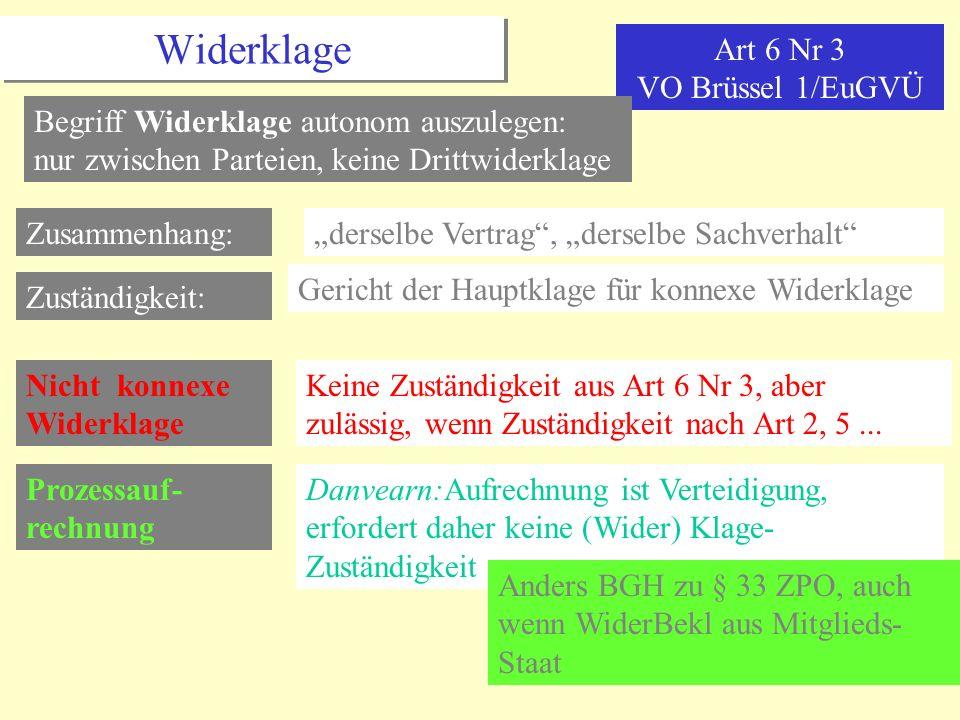 Widerklage Art 6 Nr 3 VO Brüssel 1/EuGVÜ Begriff Widerklage autonom auszulegen: nur zwischen Parteien, keine Drittwiderklage Zusammenhang:derselbe Ver