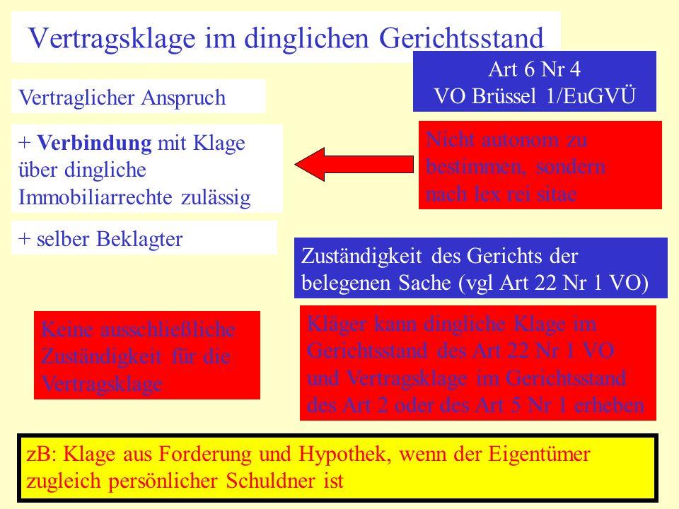 Vertragsklage im dinglichen Gerichtsstand Art 6 Nr 4 VO Brüssel 1/EuGVÜ Vertraglicher Anspruch + Verbindung mit Klage über dingliche Immobiliarrechte