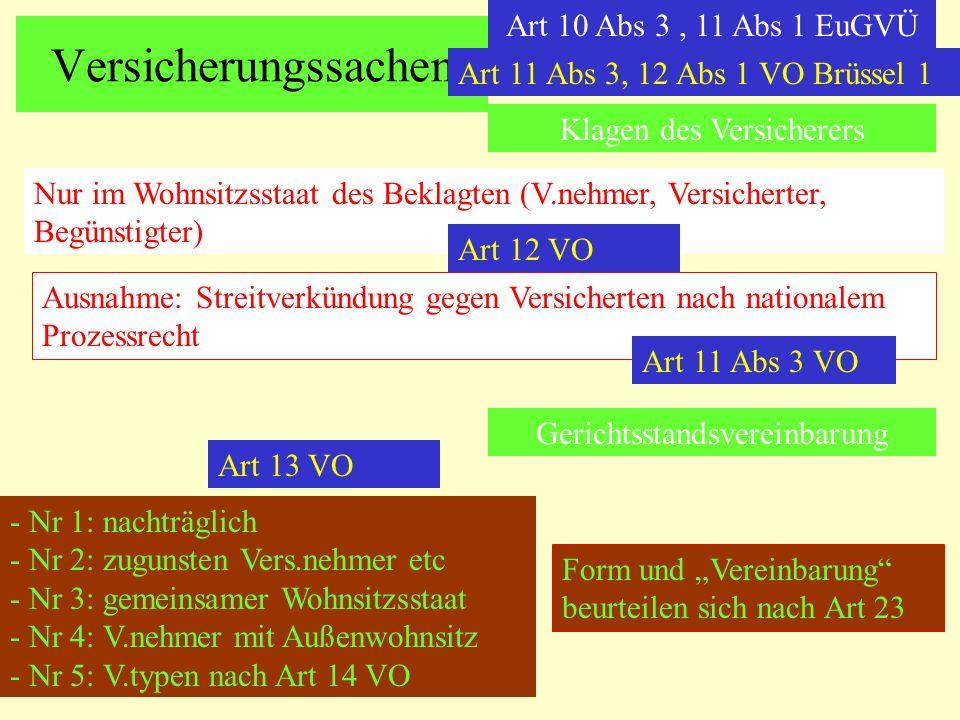 Versicherungssachen Art 10 Abs 3, 11 Abs 1 EuGVÜ Klagen des Versicherers Nur im Wohnsitzsstaat des Beklagten (V.nehmer, Versicherter, Begünstigter) Au