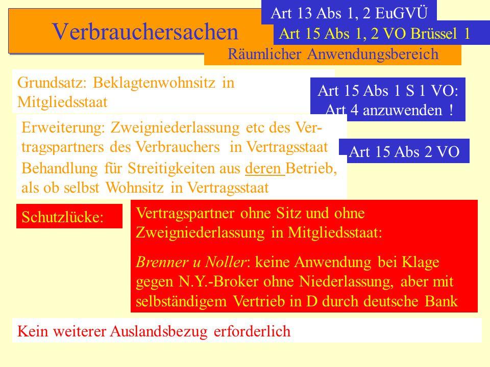 Verbrauchersachen Art 13 Abs 1, 2 EuGVÜ Räumlicher Anwendungsbereich Grundsatz: Beklagtenwohnsitz in Mitgliedsstaat Art 15 Abs 1 S 1 VO: Art 4 anzuwen