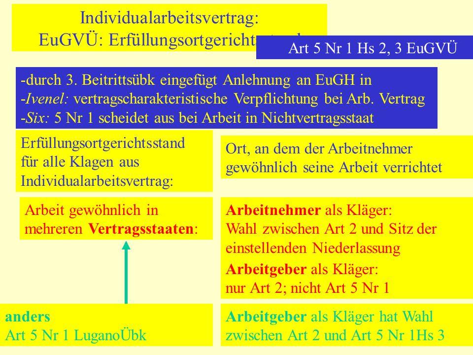 Individualarbeitsvertrag: EuGVÜ: Erfüllungsortgerichtsstand Art 5 Nr 1 Hs 2, 3 EuGVÜ -durch 3. Beitrittsübk eingefügt Anlehnung an EuGH in -Ivenel: ve