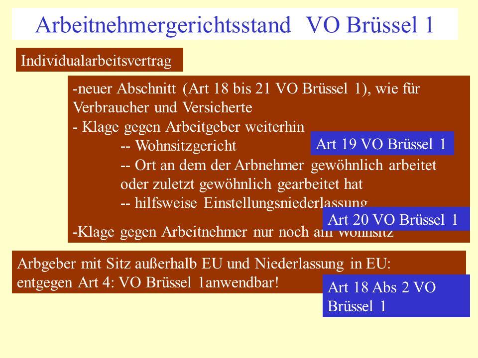 Arbeitnehmergerichtsstand VO Brüssel 1 Individualarbeitsvertrag -neuer Abschnitt (Art 18 bis 21 VO Brüssel 1), wie für Verbraucher und Versicherte - K