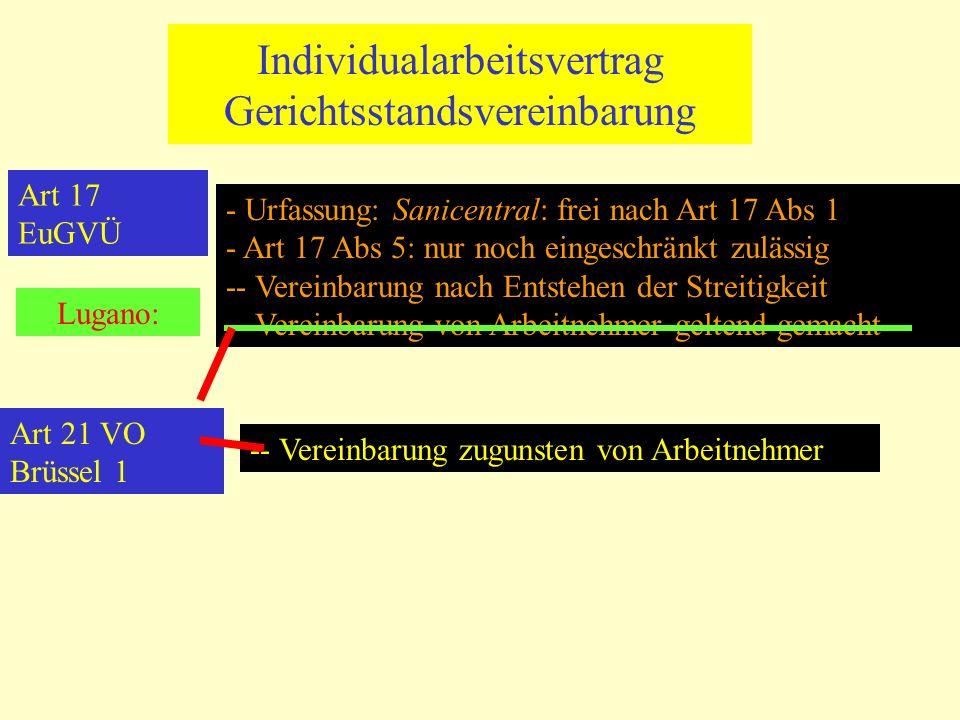 Individualarbeitsvertrag Gerichtsstandsvereinbarung Art 17 EuGVÜ - Urfassung: Sanicentral: frei nach Art 17 Abs 1 - Art 17 Abs 5: nur noch eingeschrän