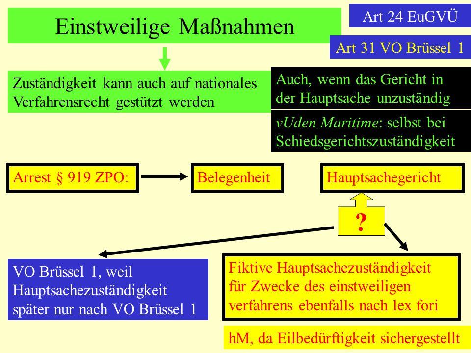 Einstweilige Maßnahmen Art 24 EuGVÜ Zuständigkeit kann auch auf nationales Verfahrensrecht gestützt werden Auch, wenn das Gericht in der Hauptsache un