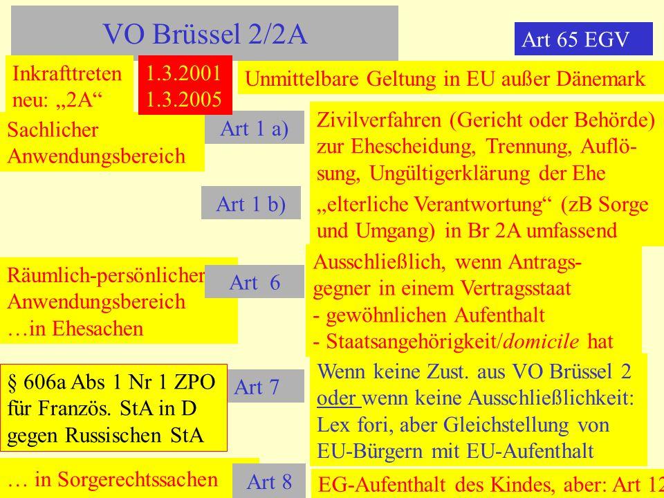 VO Brüssel 2/2A Sachlicher Anwendungsbereich Art 1 a) Zivilverfahren (Gericht oder Behörde) zur Ehescheidung, Trennung, Auflö- sung, Ungültigerklärung