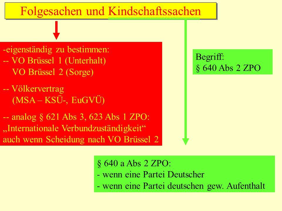 Folgesachen und Kindschaftssachen -eigenständig zu bestimmen: -- VO Brüssel 1 (Unterhalt) VO Brüssel 2 (Sorge) -- Völkervertrag (MSA – KSÜ-, EuGVÜ) --
