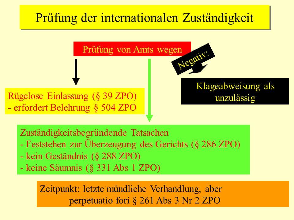 Prüfung der internationalen Zuständigkeit Prüfung von Amts wegen Rügelose Einlassung (§ 39 ZPO) - erfordert Belehrung § 504 ZPO Zuständigkeitsbegründe