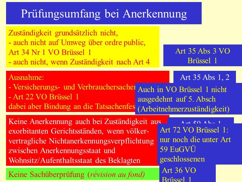 Prüfungsumfang bei Anerkennung Zuständigkeit grundsätzlich nicht, - auch nicht auf Umweg über ordre public, Art 34 Nr 1 VO Brüssel 1 - auch nicht, wen