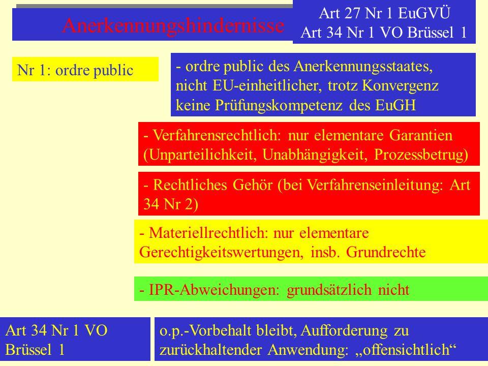 Anerkennungshindernisse Art 27 Nr 1 EuGVÜ Art 34 Nr 1 VO Brüssel 1 Nr 1: ordre public - ordre public des Anerkennungsstaates, nicht EU-einheitlicher,