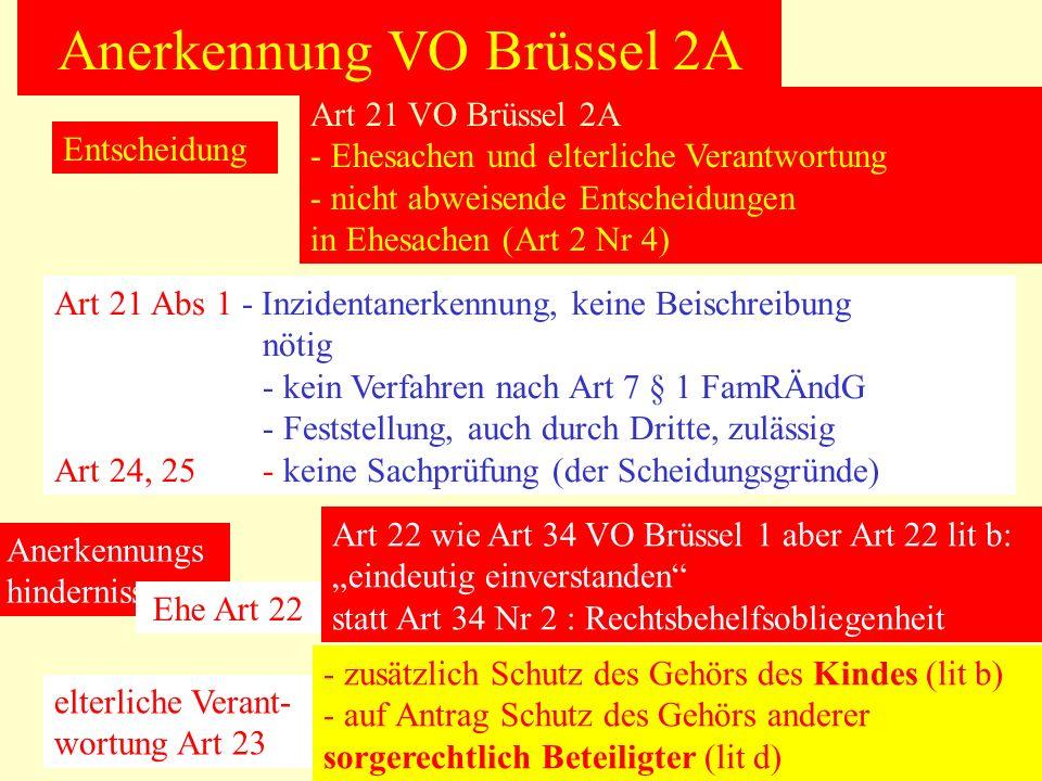 Anerkennung VO Brüssel 2A Entscheidung Art 21 VO Brüssel 2A - Ehesachen und elterliche Verantwortung - nicht abweisende Entscheidungen in Ehesachen (A