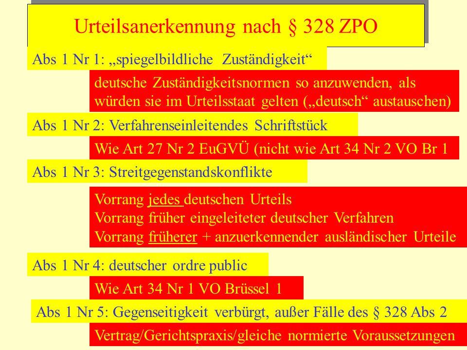 Urteilsanerkennung nach § 328 ZPO Abs 1 Nr 1: spiegelbildliche Zuständigkeit deutsche Zuständigkeitsnormen so anzuwenden, als würden sie im Urteilssta