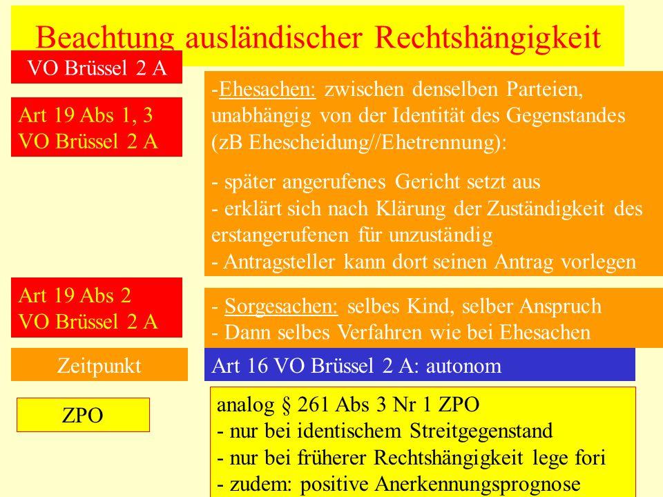 Beachtung ausländischer Rechtshängigkeit Art 19 Abs 1, 3 VO Brüssel 2 A -Ehesachen: zwischen denselben Parteien, unabhängig von der Identität des Gege