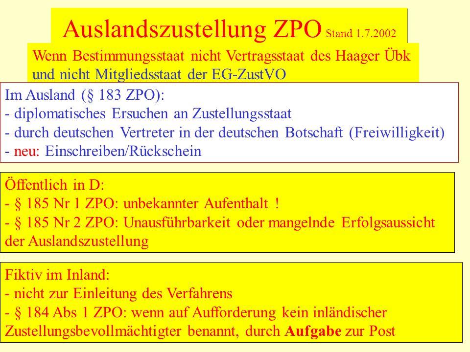 Auslandszustellung ZPO Stand 1.7.2002 Wenn Bestimmungsstaat nicht Vertragsstaat des Haager Übk und nicht Mitgliedsstaat der EG-ZustVO Im Ausland (§ 18