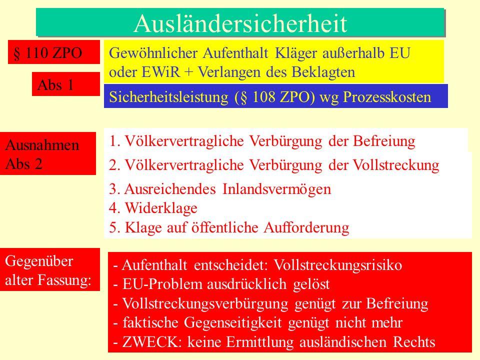 Ausländersicherheit § 110 ZPO Gewöhnlicher Aufenthalt Kläger außerhalb EU oder EWiR + Verlangen des Beklagten Sicherheitsleistung (§ 108 ZPO) wg Proze