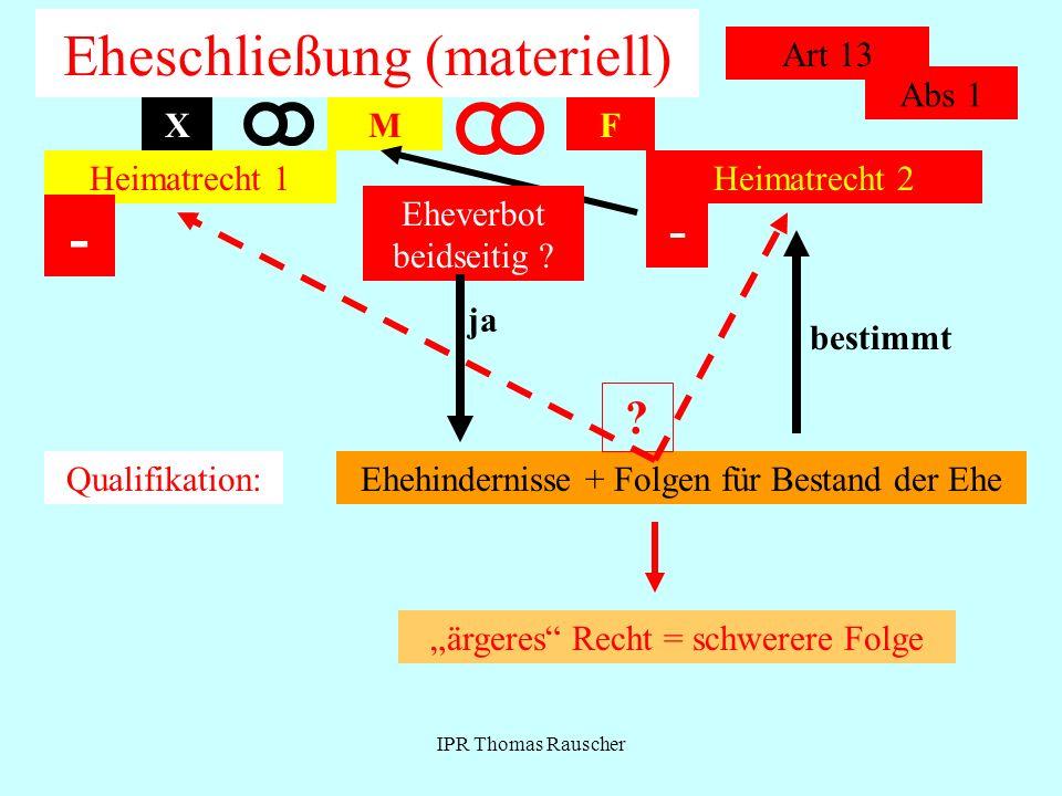 IPR Thomas Rauscher Eheschließung (materiell) Art 13 MF Heimatrecht 1Heimatrecht 2 Qualifikation:Ehehindernisse + Folgen für Bestand der Ehe X - Eheve