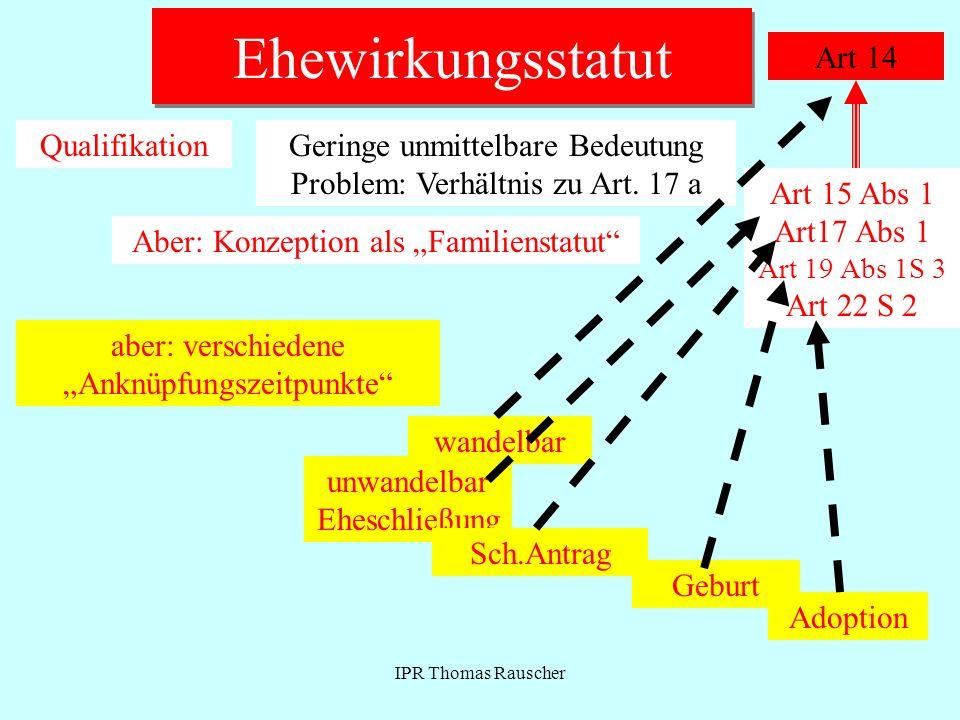IPR Thomas Rauscher Ehewirkungsstatut Art 14 QualifikationGeringe unmittelbare Bedeutung Problem: Verhältnis zu Art. 17 a Aber: Konzeption als Familie