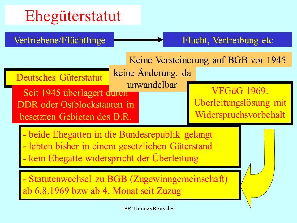 IPR Thomas Rauscher Ehegüterstatut Vertriebene/Flüchtlinge Deutsches Güterstatut Seit 1945 überlagert durch DDR oder Ostblockstaaten in besetzten Gebi