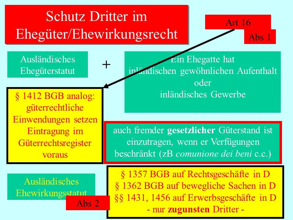 IPR Thomas Rauscher Schutz Dritter im Ehegüter/Ehewirkungsrecht Art 16 Ausländisches Ehegüterstatut + Ein Ehegatte hat inländischen gewöhnlichen Aufen