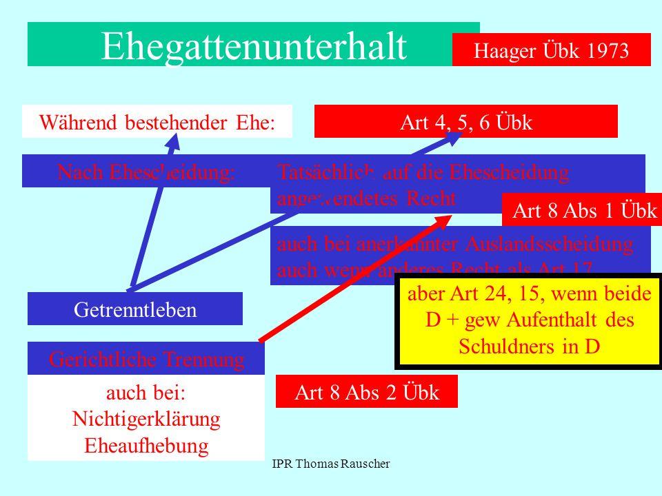 IPR Thomas Rauscher Ehegattenunterhalt Während bestehender Ehe: Haager Übk 1973 Art 4, 5, 6 Übk Nach Ehescheidung: Tatsächlich auf die Ehescheidung an
