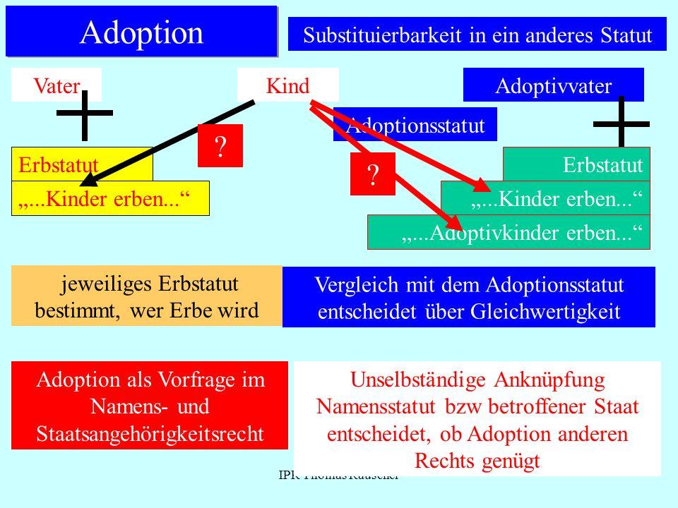 IPR Thomas Rauscher Adoption Substituierbarkeit in ein anderes Statut VaterKindAdoptivvater Erbstatut Adoptionsstatut...Kinder erben... ? Erbstatut...