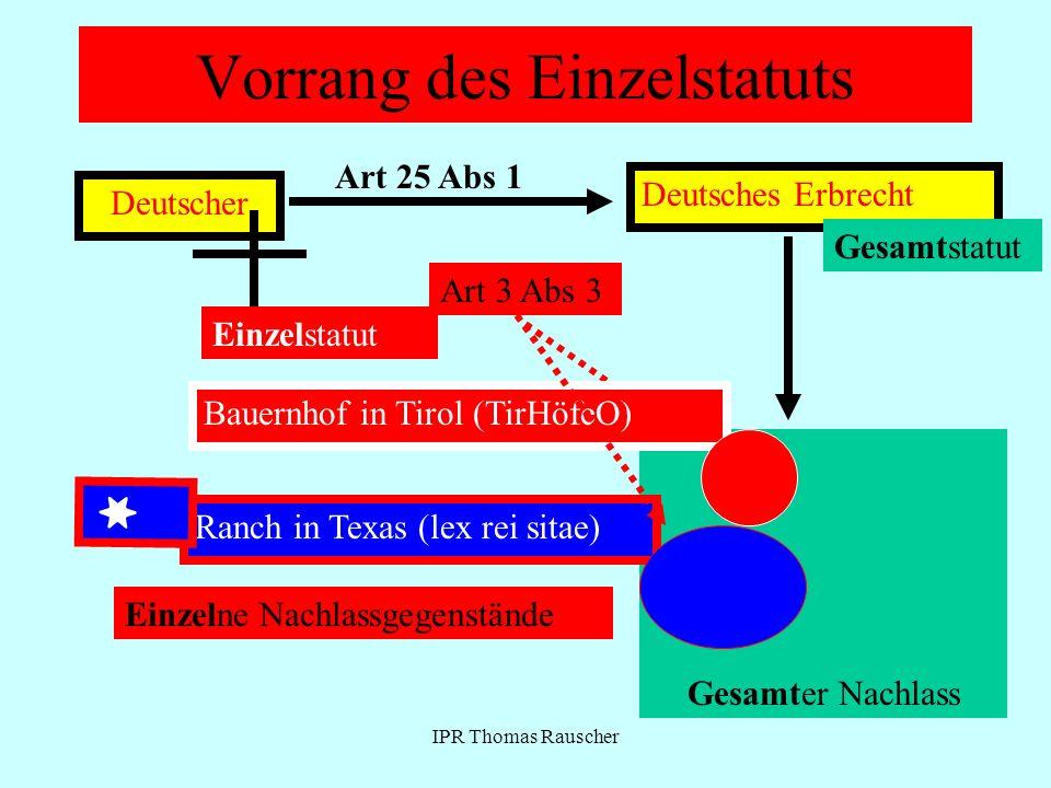 IPR Thomas Rauscher Vorrang des Einzelstatuts Deutscher Art 25 Abs 1 Deutsches Erbrecht Gesamter Nachlass Gesamtstatut Art 3 Abs 3 Bauernhof in Tirol