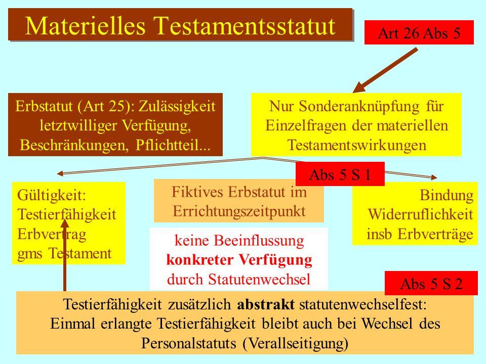 IPR Thomas Rauscher Materielles Testamentsstatut Art 26 Abs 5 Nur Sonderanknüpfung für Einzelfragen der materiellen Testamentswirkungen Erbstatut (Art 25): Zulässigkeit letztwilliger Verfügung, Beschränkungen, Pflichtteil...