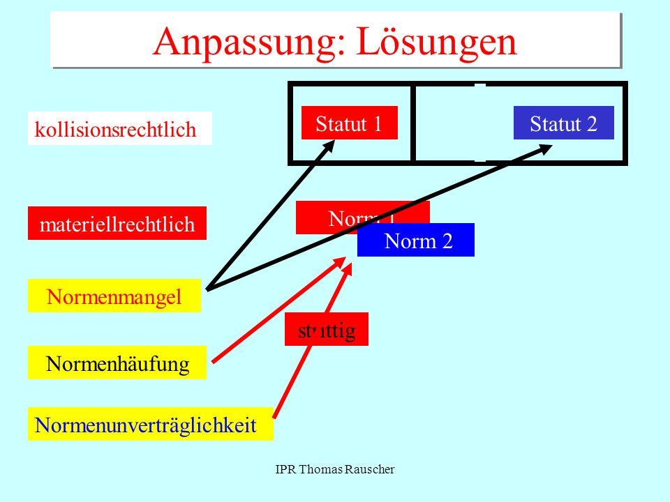IPR Thomas Rauscher Anpassung: Lösungen kollisionsrechtlich Statut 1Statut 2 materiellrechtlich Norm 1Norm 2 Normenmangel Normenhäufung strittig Norme