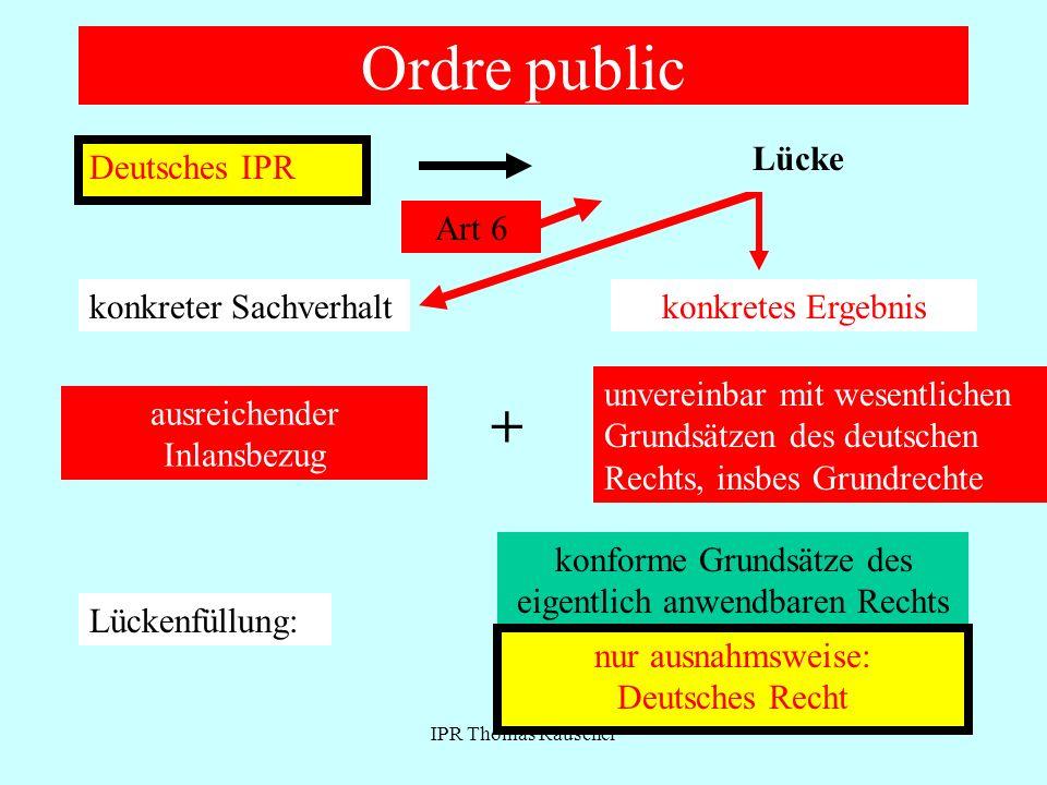 IPR Thomas Rauscher Ordre public Deutsches IPR Ausländische Norm konkreter Sachverhaltkonkretes Ergebnis unvereinbar mit wesentlichen Grundsätzen des deutschen Rechts, insbes Grundrechte + ausreichender Inlansbezug Art 6 Lücke Lückenfüllung: konforme Grundsätze des eigentlich anwendbaren Rechts nur ausnahmsweise: Deutsches Recht