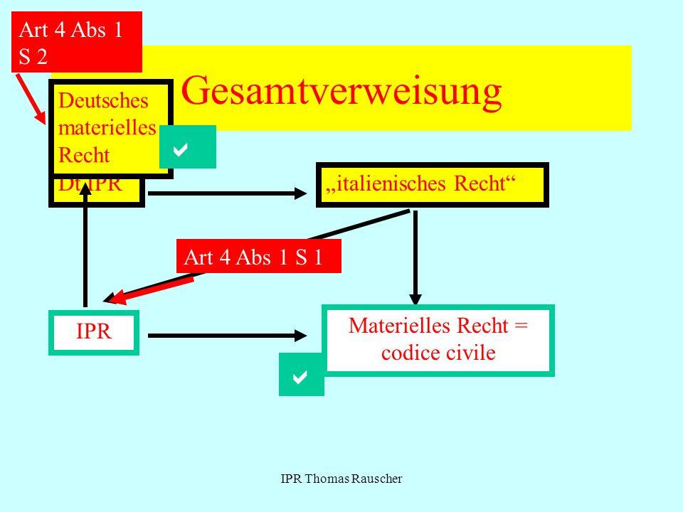 IPR Thomas Rauscher Gesamtverweisung Dt.IPRitalienisches Recht Materielles Recht = codice civile IPR Art 4 Abs 1 S 1 Art 4 Abs 1 S 2 Deutsches materielles Recht