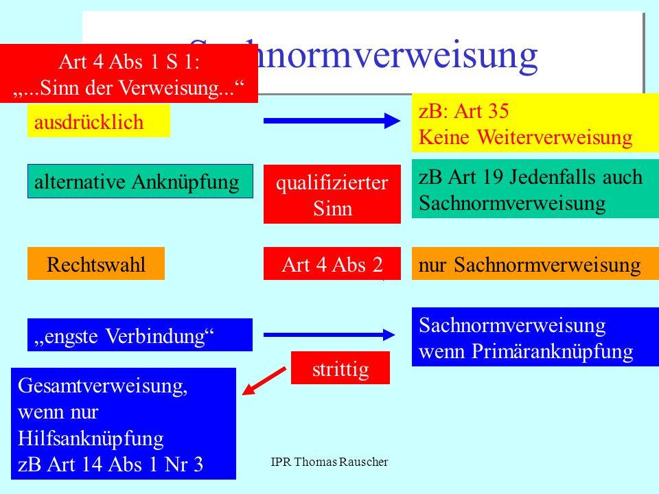 IPR Thomas Rauscher Sachnormverweisung Art 4 Abs 1 S 1:...Sinn der Verweisung... ausdrücklich zB: Art 35 Keine Weiterverweisung alternative Anknüpfung