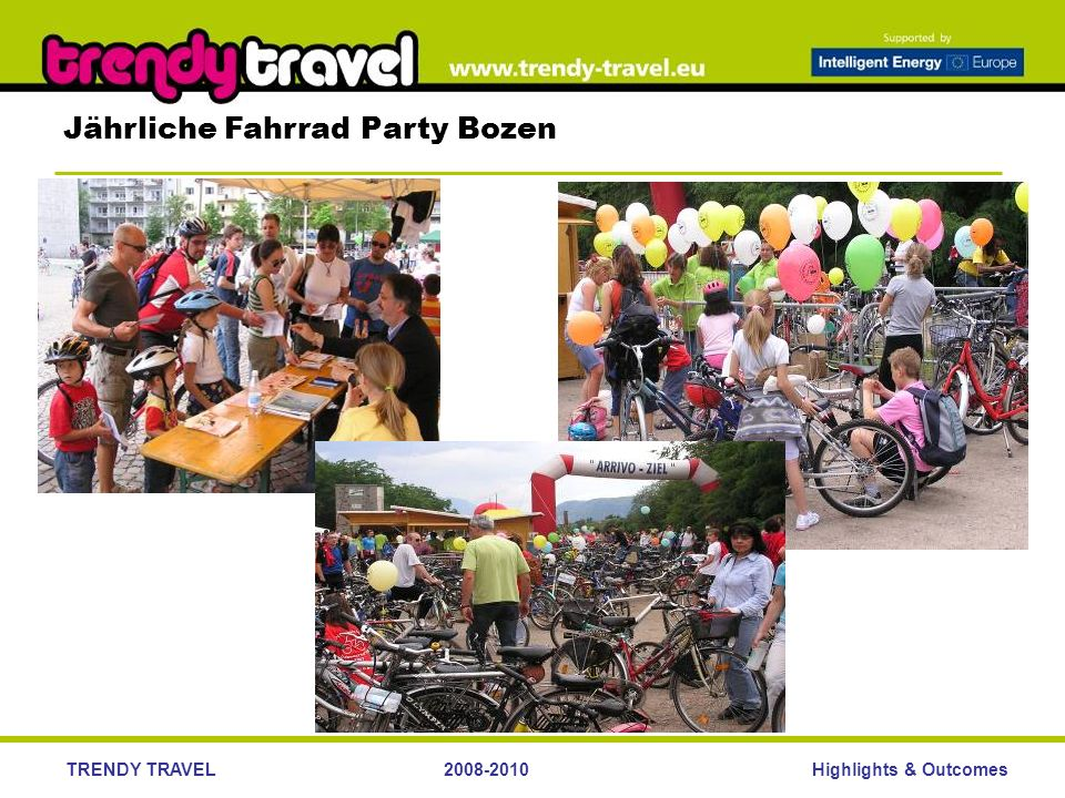 Highlights & OutcomesTRENDY TRAVEL2008-2010 Jährliche Fahrrad Party Bozen