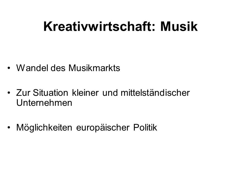 Wandel des Musikmarkts Zur Situation kleiner und mittelständischer Unternehmen Möglichkeiten europäischer Politik