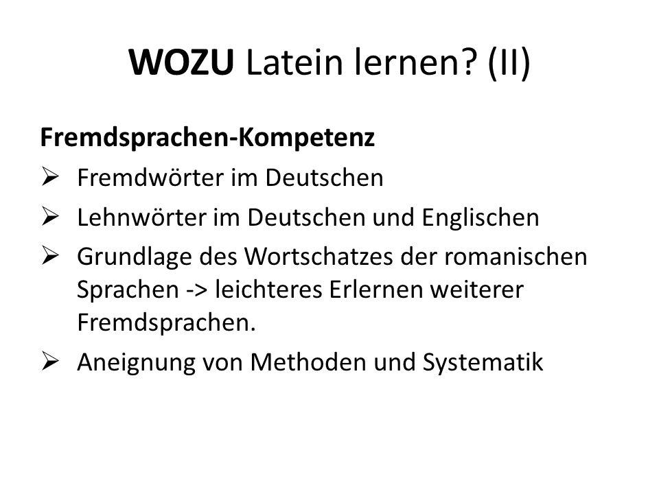 Beispiele (I) Latein im Deutschen: Video (videre) Computer (computare) Addition (additus) legal (lex) Lateinische Namen: z.B.