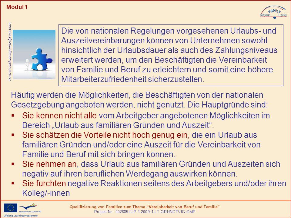 Qualifizierung von Familien zum Thema Vereinbarkeit von Beruf und Familie Projekt Nr.: 502889-LLP-1-2009-1-LT-GRUNDTVIG-GMP Modul 1 Die von nationalen