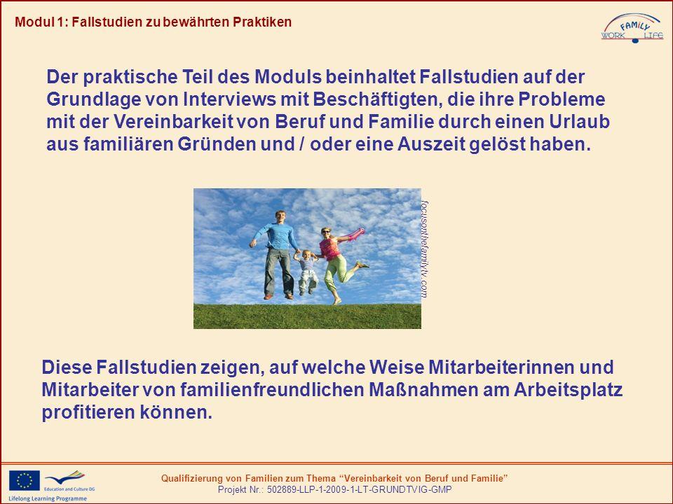Qualifizierung von Familien zum Thema Vereinbarkeit von Beruf und Familie Projekt Nr.: 502889-LLP-1-2009-1-LT-GRUNDTVIG-GMP Modul 1: Fallstudien zu be