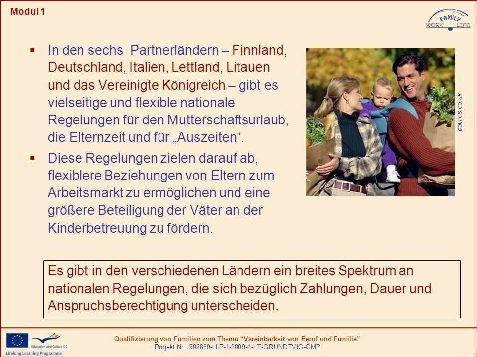 Qualifizierung von Familien zum Thema Vereinbarkeit von Beruf und Familie Projekt Nr.: 502889-LLP-1-2009-1-LT-GRUNDTVIG-GMP Modul 1 hohe Priorität des Mutterschaftsurlaubs in Europa Gewährleistung des Mindeststandards in den Mitgliedsstaaten durch die vom Europäischen Rat angenommene Richtlinien.