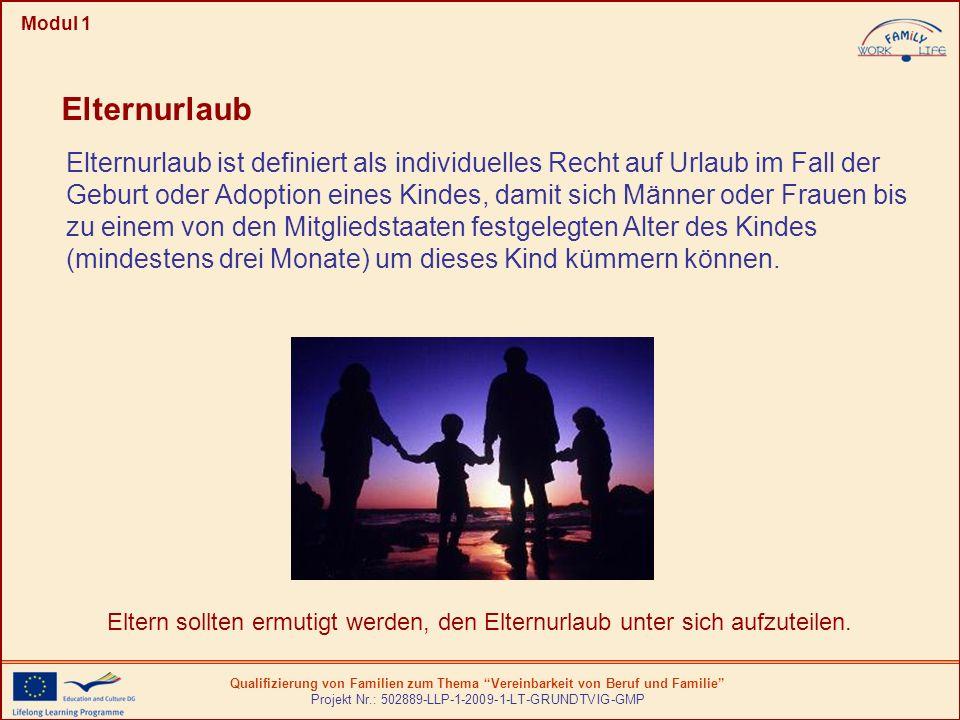Qualifizierung von Familien zum Thema Vereinbarkeit von Beruf und Familie Projekt Nr.: 502889-LLP-1-2009-1-LT-GRUNDTVIG-GMP Modul 1 Elternurlaub ist d