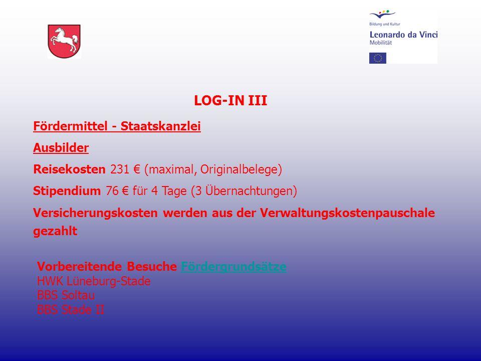 LOG-IN III Fördermittel - Staatskanzlei Ausbilder Reisekosten 231 (maximal, Originalbelege) Stipendium 76 für 4 Tage (3 Übernachtungen) Versicherungsk
