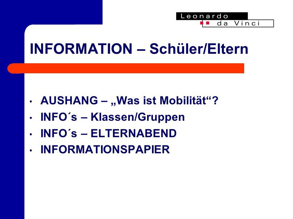 INFORMATION – Schüler/Eltern AUSHANG – Was ist Mobilität.