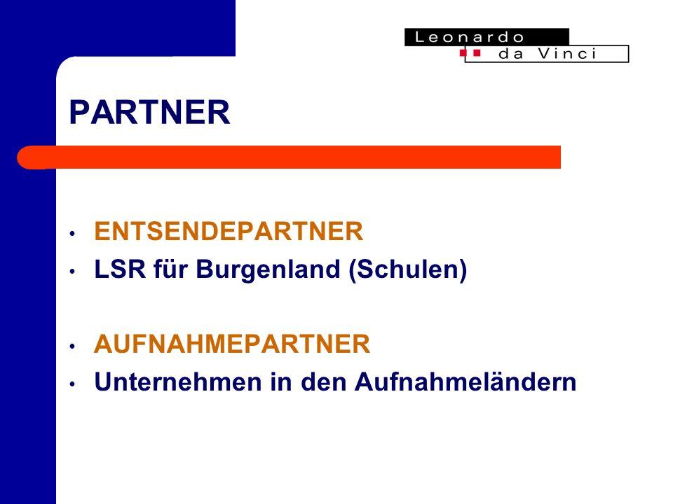 PARTNER ENTSENDEPARTNER LSR für Burgenland (Schulen) AUFNAHMEPARTNER Unternehmen in den Aufnahmeländern