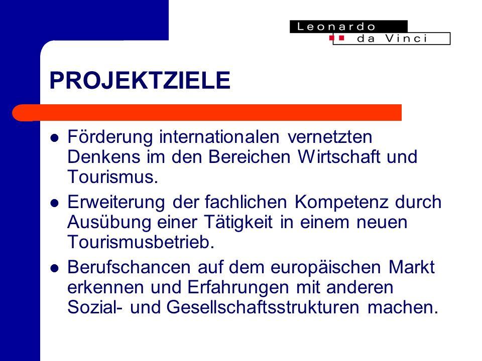 PROJEKTZIELE Förderung internationalen vernetzten Denkens im den Bereichen Wirtschaft und Tourismus.
