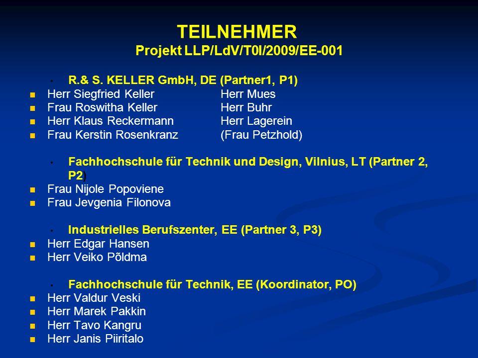 TEILNEHMER Projekt LLP/LdV/T0I/2009/EE-001 R.& S. KELLER GmbH, DE (Partner1, P1) Herr Siegfried KellerHerr Mues Frau Roswitha KellerHerr Buhr Herr Kla