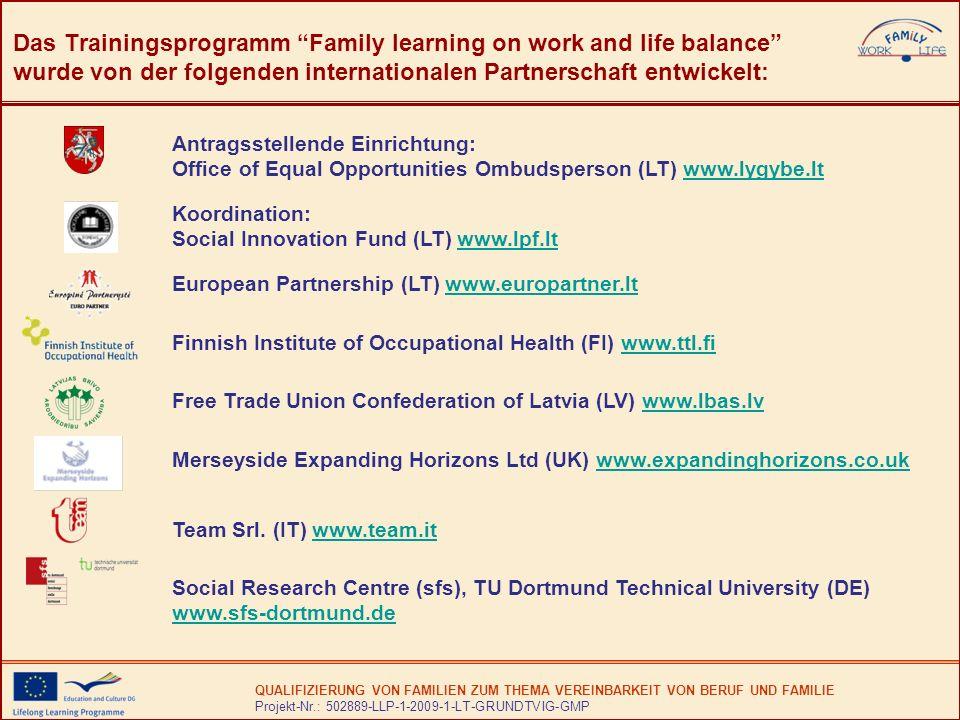 QUALIFIZIERUNG VON FAMILIEN ZUM THEMA VEREINBARKEIT VON BERUF UND FAMILIE Projekt-Nr.: 502889-LLP-1-2009-1-LT-GRUNDTVIG-GMP Das Trainingsprogramm Family learning on work and life balance wurde von der folgenden internationalen Partnerschaft entwickelt: Antragsstellende Einrichtung: Office of Equal Opportunities Ombudsperson (LT) www.lygybe.ltwww.lygybe.lt Koordination: Social Innovation Fund (LT) www.lpf.ltwww.lpf.lt European Partnership (LT) www.europartner.ltwww.europartner.lt Finnish Institute of Occupational Health (FI) www.ttl.fiwww.ttl.fi Free Trade Union Confederation of Latvia (LV) www.lbas.lvwww.lbas.lv Merseyside Expanding Horizons Ltd (UK) www.expandinghorizons.co.ukwww.expandinghorizons.co.uk Team Srl.