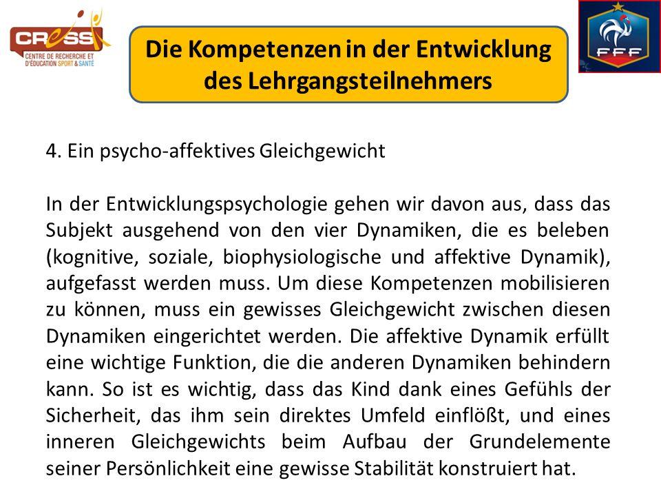 4. Ein psycho-affektives Gleichgewicht In der Entwicklungspsychologie gehen wir davon aus, dass das Subjekt ausgehend von den vier Dynamiken, die es b