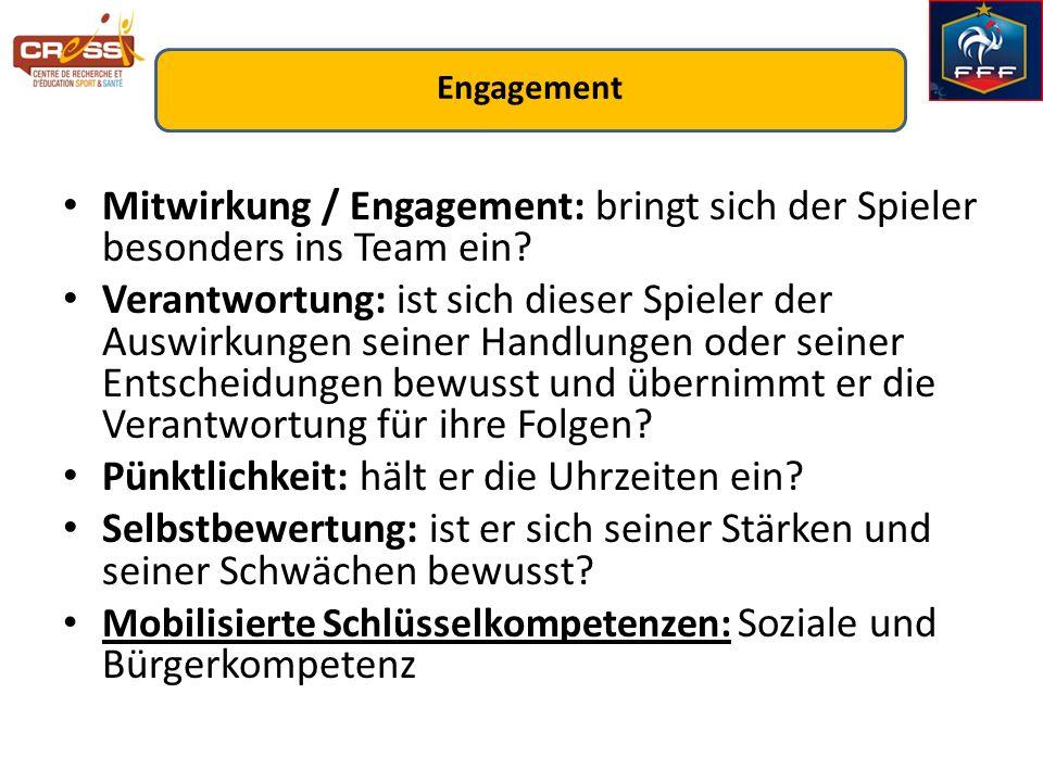 Mitwirkung / Engagement: bringt sich der Spieler besonders ins Team ein? Verantwortung: ist sich dieser Spieler der Auswirkungen seiner Handlungen ode