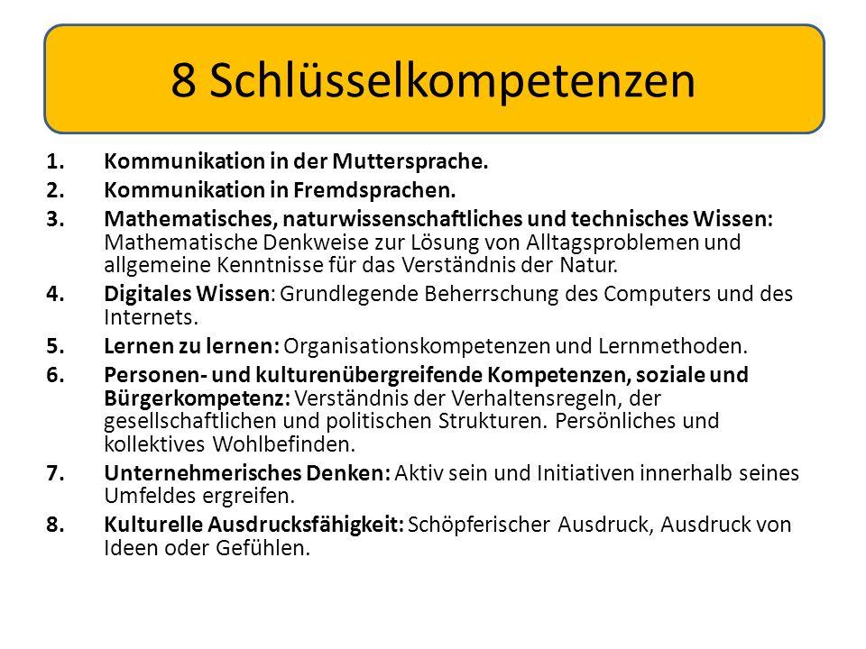 1.Kommunikation in der Muttersprache. 2.Kommunikation in Fremdsprachen. 3.Mathematisches, naturwissenschaftliches und technisches Wissen: Mathematisch